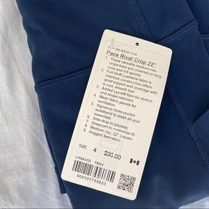"""NWT Lululemon Pace Rival Crop 22"""""""